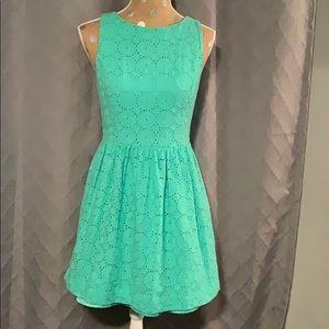 Kensie Crotchet Eyelet Mint Green Dress Sz Medium